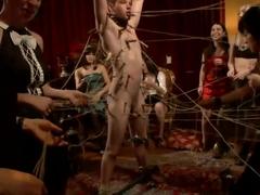 40 women gangbang slaveboy for Bobbi Starr's birthday LIVE and PUBLIC!