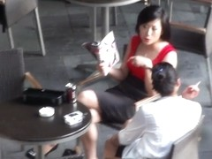 Asian voyeur video with a sexy slut in restaurant