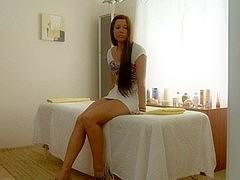Hot hotty squirt on her large a-hole after massage