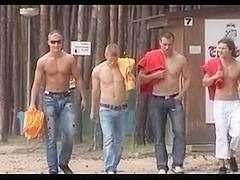 Nice looking gay hunks masturbate by the pool