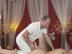 Horny brunette seduces masseur