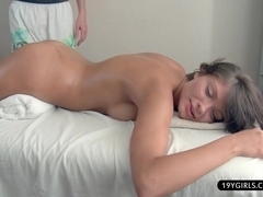 Exquisite vibrator and slow blowjob during complete massage session