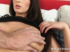 Long haired brunette is fingered hard by her sexy lover