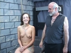 Hard flogging for hot juvenile dark brown merry tit angel from mature s&m slaver Len