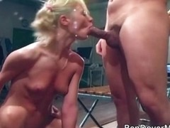 Petite blonde assfucked and takes facials from 3 men