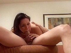 Brunette girl sucks dick and gets a facial