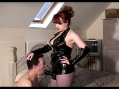 Aged Headmistress Red slams her slaves anal opening
