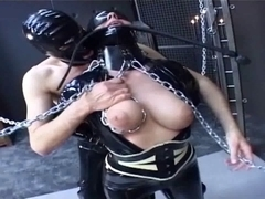 Latex corset movie with spandex babe who adores BDSM