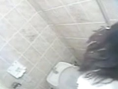 Gal sets comfy on toilet and gets hidden masturbation orgasm