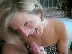 Mature bimbo got my cum on her face