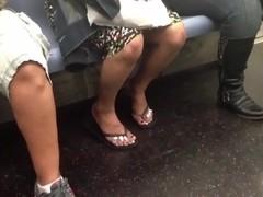 Candid Latina flip flop feet