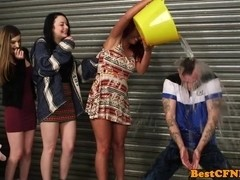 cfnm blowjob by three girls