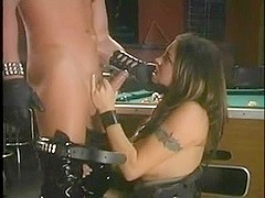 Busty milf gets her face covered in spunk