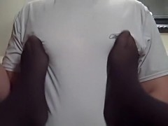 hard spandex nipples nylon pantyhose feet and toes massage