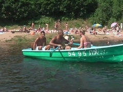 Girl double penetrated while boat trip