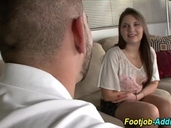 Babes worshipped feet rub cock