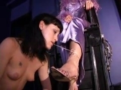 Mistress orders girl to worship feet