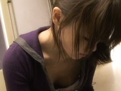 Asian candid down blouse video with brunette babe