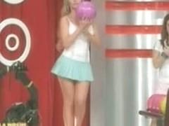 Hot little blonde makes upskirt magic bowling on TV
