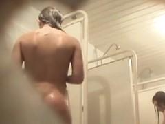 Hidden cameraman in shower admiring amateur booty