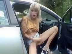 Shemale amateur blonde poses and masturbates