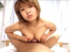 Cute short haired tanned Asian cock massage