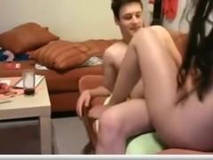 Hot girl fucks her bf on the sofa online for strangers