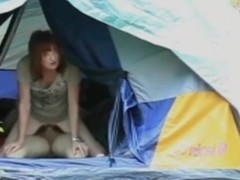 Crazy camping sex in a tent. the wife is afraid to get busted !!!