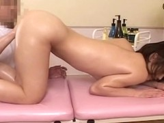 Cute Japanese gets her pussy toyed in voyeur massage video