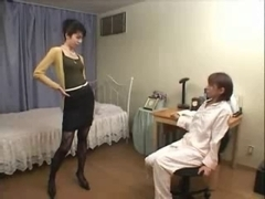 Hairy Japanese babes in hot lez action with a dildo