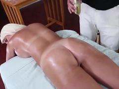 Jacky Joy gets horny and sucks a masseur's big dick