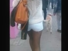 Following a sexy girl with great candid ass and stockings