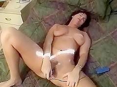Mature brunette wife vibrator orgasm