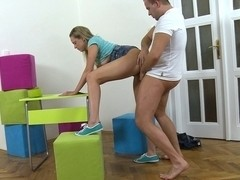 Blonde sexdoll plays with her dildo
