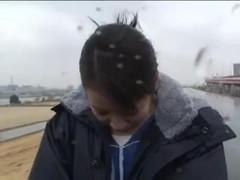 Japanese girl runs track in bodypaint