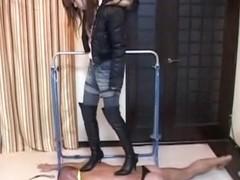 Corrupt Jap domina tortures her serf