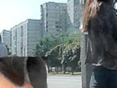 Upskirt delight by pale-skinned brunette girlfriend