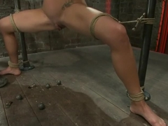 Sexy thin girl with huge boobs has massive orgasmswhile neck rope slowly chokes her almost out.