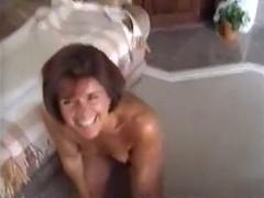 Older mother receives her throat filled nicely
