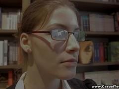 Messy facial for nerdy slut