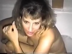 My busty wife sucks my 10-Pounder and masturbates with a jet of water