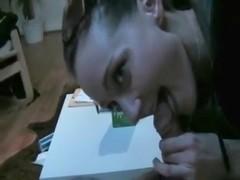 Brunette cocksucker eats cum