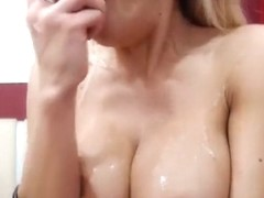 First_class: blonde sucks dildo