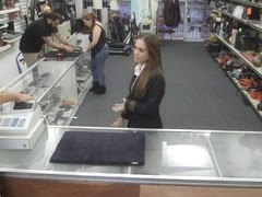 Sexy latina stewardess fucked by pawn man to earn money