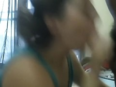 Sex-starved dark brown hair hair bimbo gives me one hell of a blow job job