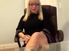 Blonde Secretary Feet Tease