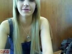 Blonde immature slut teases on a webcam