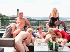 Bisexual orgy on the roof top