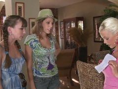 Capri Anderson and Nikki Brooks invited Delta White over for some lesbian fun
