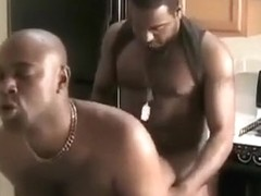 Black dudes kitchen fuck